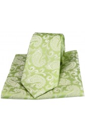 Soprano Wedding Green Paisley Woven Silk Tie and Pocket Square