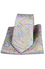 Posh & Dandy Edwardian Paisley on Lemon Silk Tie and Pocket Square
