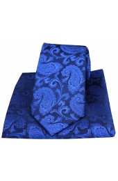 Soprano Royal Blue Paisley Woven Silk Tie and Pocket Square