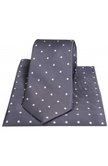 Soprano Dark Charcoal and White Polka Dot Silk Tie and Pocket Square