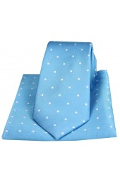 Soprano Blue With White Polka Dot Silk Tie and Pocket Square