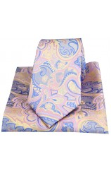 Posh & Dandy Edwardian Paisley on Pink Silk Tie and Pocket Square