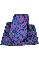 Posh & Dandy Purple and Fuchsia Paisley Silk Tie and Pocket Square