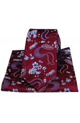 Soprano Wine Mens Flower Pattern Silk Tie and Pocket Square