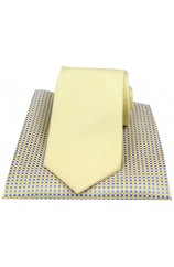 Soprano Plain Yellow Polyester Tie with Neat Silk Hanky