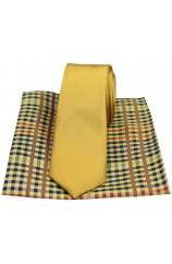 Soprano Plain Gold Slim Silk Tie with Checked Pattern Silk Hanky