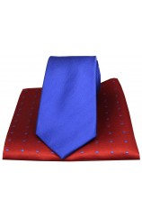 Soprano Plain Blue Silk Tie with Red Polka Dot Silk Hanky