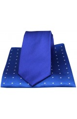 Soprano Plain Blue Silk Tie with Polka Dot Silk Hanky