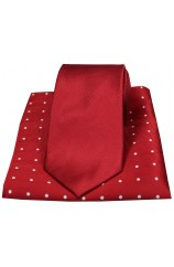 Soprano Red Silk Tie with Polka Dot Silk Hanky