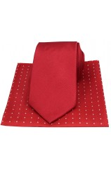 Soprano Plain Red Silk Tie with Pin Dot Silk Hanky