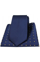 Soprano Navy Silk Tie with Polka Dot Silk Hanky