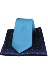Soprano Turquoise Silk Tie with Navy Polka Dot Silk Hanky
