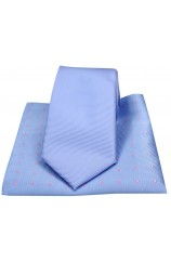 Soprano Plain Sky Blue Polyester Tie with Polka Dot Silk Hanky