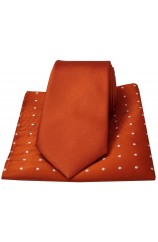 Soprano Plain Burnt Orange Silk Tie with Polka Dot Silk Hanky