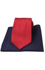 Soprano Plain Red Silk Tie with Navy Polka Dot Silk Hanky