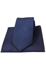 Soprano Plain Navy Woven Silk Tie with Polka Dot Silk Hanky