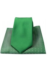 Soprano Plain Green Silk Tie with Green Polka Dot Silk Hanky