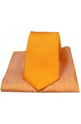 Soprano Plain Orange Silk Tie with Polka Dot Silk Hanky