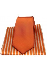 Soprano Plain Burnt Orange Silk Tie with Striped Silk Hanky