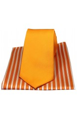 Soprano Plain Orange Silk Tie with Striped Silk Hanky