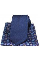 Soprano Plain Navy Silk Tie with Paisley Silk Hanky