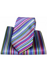Posh & Dandy Bright Multi Coloured Thin Striped Tie and Pocket Square