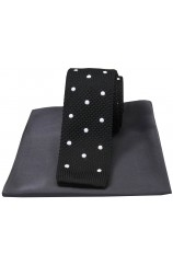 Soprano Black Spotted Thin Knitted Polyester Tie with Grey Silk Hanky