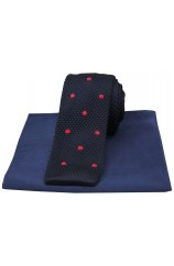 Soprano Navy Red Spot Thin Knitted Polyester Tie with Silk Plain Hanky