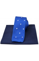 Soprano Blue Spotted Thin Knitted Polyester Tie with Silk Navy Hanky