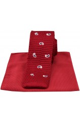 Soprano Red Paisley Thin Knitted Polyester Tie with Red Plain Silk Hanky