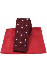 Soprano Wine Spot Thin Knitted Polyester Tie with Plain Red Silk Hanky