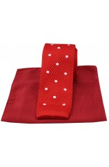 Soprano Red Spot Thin Knitted Polyester Tie with Plain Red Silk Hanky