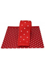Soprano Red Spot Thin Knitted Polyester Tie with Red Spot Silk Hanky