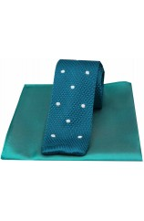Soprano Teal Spot Thin Knitted Polyester Tie with Teal Plain Silk Hanky