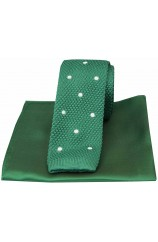 Soprano Green Spot Thin Knitted Polyester Tie with Green Plain Silk Hanky