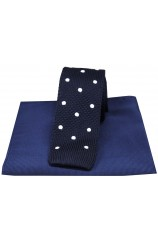 Soprano Navy Spot Thin Knitted Polyester Tie with Plain Silk Hanky