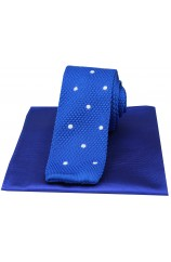 Soprano Blue Spotted Thin Knitted Polyester Tie with Plain Silk Hanky
