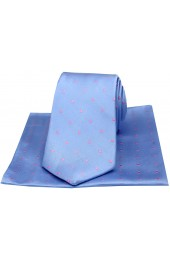 Soprano Sky Blue and Pink Polka Dot Silk Tie and Pocket Square