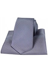 Navy Dogtooth Silk Tie With Matching Pocket Square