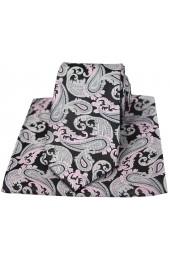 Black Grey and Pink Paisley Silk Tie and Hanky Set