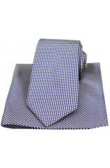 Blue and Yellow Small Check Silk Tie and Hanky Set