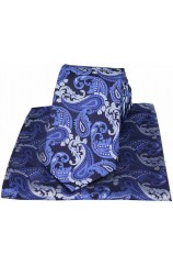 Blue Textured Paisley Silk Tie and Pocket Square