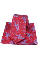 Red with Blue Paisley Silk Tie and Pocket Square