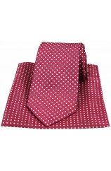 Wine Polka Dot Silk Tie and Pocket Square
