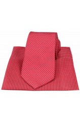 Red & white Pin Dots Silk Tie and Pocket Square