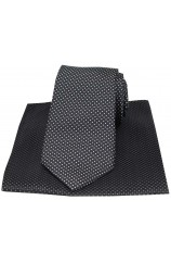 Black Pin Dots Silk Tie and Pocket Square
