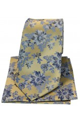 Posh & Dandy Gold With Blue Flowers Luxury Silk Tie And Hanky Set