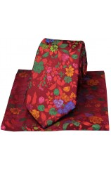 Posh And Dandy Wine With Multi Coloured Flowers Silk Tie And Hanky Set
