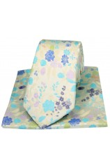 Posh And Dandy Pastel Coloured Flowers Luxury Silk Tie And Hanky