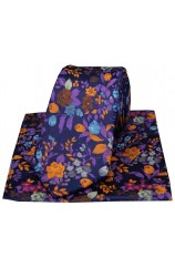 Posh And Dandy Bright Multi Coloured Flowers Silk Tie And Hanky Set